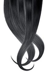 Black hair, isolated on white background. Long wavy ponytail