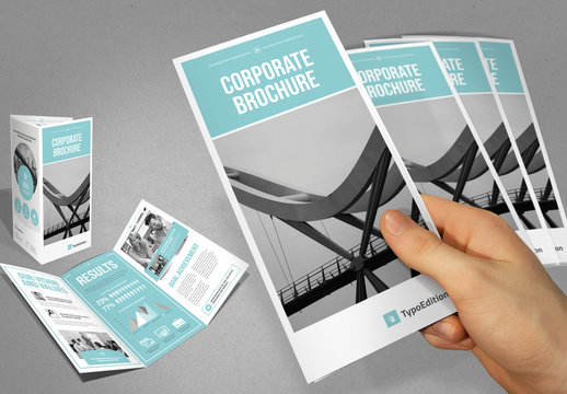 Trifold Brochure Layout in Blue and White