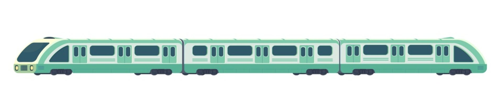 Passanger modern electric high-speed train. Railway subway or metro transport. Underground train Vector illustration flat style.