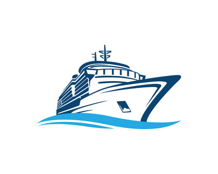 Vector Blue Traveling with Cruise Ship and Wave in the Ocean Sea Sign Symbol Icon Logo Template Design Inspiration