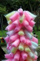 Algodão doce, uma guloseima obtida do açucar cristalizado. É vendido em parques de diversão, praças, jardins zoológicos, locais onde a presença da garotada é frequente.