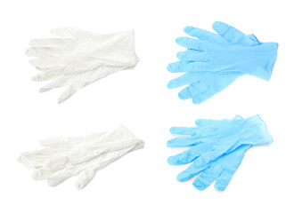 Set with protective gloves on white background. Medical objects