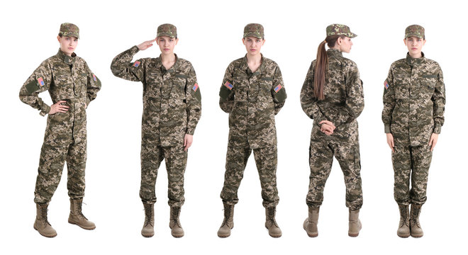 Set with female soldier on white background. Military service