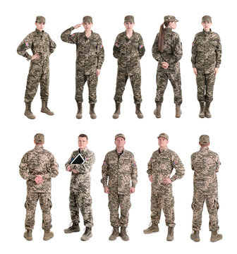 Set with soldiers on white background. Military service
