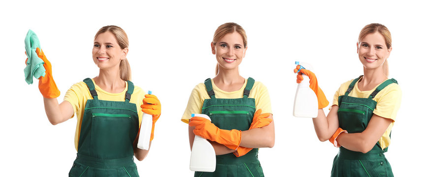 Set with janitor and cleaning supplies on white background