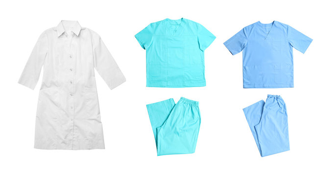 Set with medical uniforms on white background