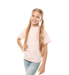 Smiling little girl in t-shirt on white background