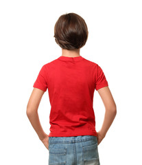 Little boy in t-shirt on white background, back view