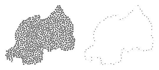Dotted and Contour map of Rwanda composed with dots. Vector gray abstraction of map of Rwanda. Connect the dots educational geographic drawing for map of Rwanda.