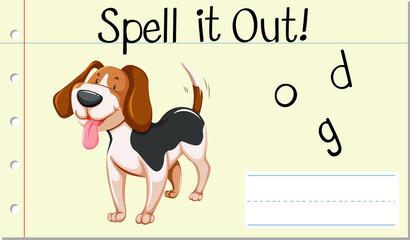 Spell English word dog