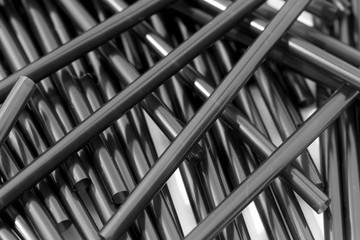 Black straw on white background