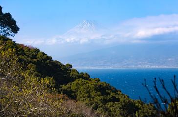 海から望む富士山