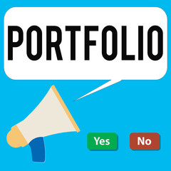 Writing note showing Portfolio. Business photo showcasing Examples of work used to apply for a job Combination of shares.