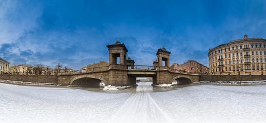Saint Petersburg. Winter. River Fontanka. bridges in Petersburg. Fontanka river in the ice. Lomonosov Bridge. Russia. Architecture of Petersburg. Panorama of St. Petersburg.