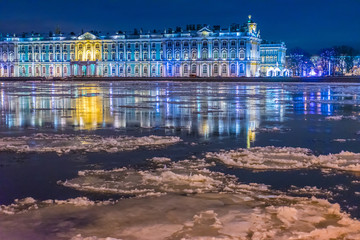 Saint Petersburg. Winter. Neva River. Petersburg in the winter. Ice floats on the Neva River. Winter Palace. Palace Embankment. Museums of St. Petersburg. Russia in the winter.