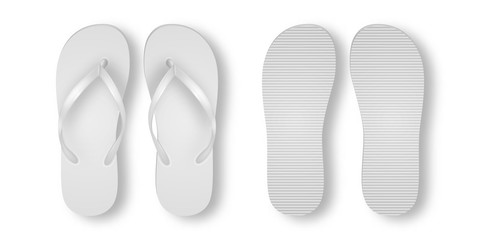 Vector Realistic 3d White Blank Empty Flip Flop Set Closeup Isolated on White Background. Design Template of Summer Beach Holiday Flip Flops Pair For Advertise, Logo Print, Mockup. Front and Back View