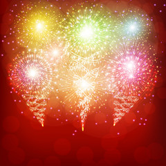 Red background with fireworks.
