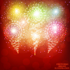 Red background with fireworks. Vector.