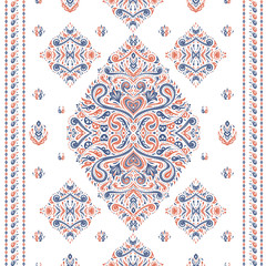 Orange and blue ornamental seamless pattern. Vintage vector, paisley elements. Ornament. Traditional, Turkish, Indian motifs. Great for fabric and textile, wallpaper, packaging or any desired idea.