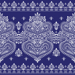Blue and white ornamental seamless pattern. Vintage vector, paisley elements. Ornament. Traditional, Turkish, Indian motifs. Great for fabric and textile, wallpaper, packaging or any desired idea.