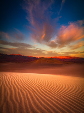 Death Valley sand dune at dusk