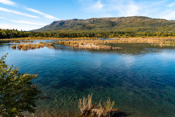 Alaskan landscape in fall color, Brooks River with spawning salmon, Dumpling Mountain and blue sky, Katmai National Park, Alaska, USA