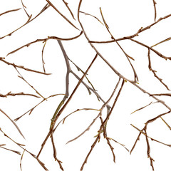 Bare branches without leaves. Late autumn seamless pattern