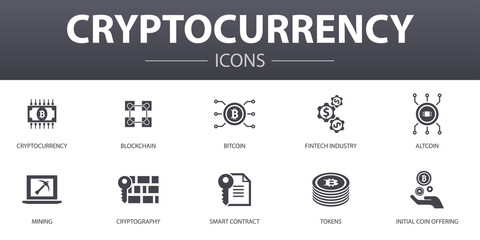 Cryptocurrency simple concept icons set. Contains such icons as blockchain, fintech industry, Mining, Cryptography and more, can be used for web, logo, UI/UX