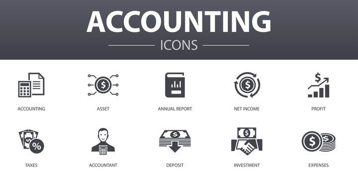 Accounting simple concept icons set. Contains such icons as Asset, Annual report, Net Income, Accountant and more, can be used for web, logo, UI/UX