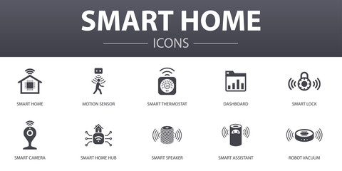 Smart home simple concept icons set. Contains such icons as motion sensor, dashboard, smart assistant, robot vacuum and more, can be used for web, logo, UI/UX