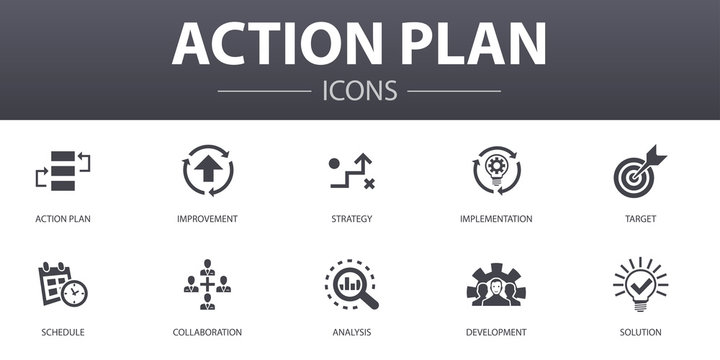 action plan simple concept icons set. Contains such icons as improvement, strategy, implementation, analysis and more, can be used for web, logo, UI/UX