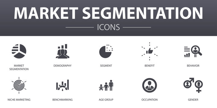 market segmentation simple concept icons set. Contains such icons as demography, segment, Benchmarking, Age group and more, can be used for web, logo, UI/UX