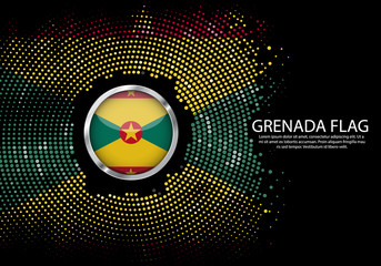 Background Halftone gradient template or LED neon Light on round Dots style of Grenada flag.  Modern soccer cup for futuristic background with circle metallic round of Grenada flag. Vector.