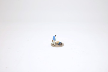 a mini figure of Homeless senior adult man