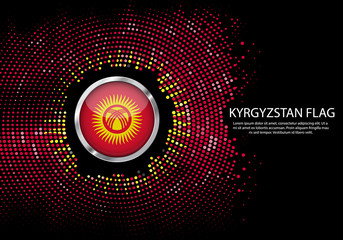 Background Halftone gradient template or LED neon Light on round Dots style of Kyrgyzstan flag.  Modern soccer cup for futuristic background with circle metallic round of Kyrgyzstan flag. Vector.