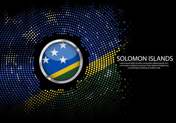 Background Halftone gradient template or LED neon Light on round Dots style of Solomon Islands flag.  Modern soccer cup for futuristic background with circle metallic round of Solomon Islands flag.