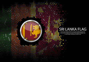 Background Halftone gradient template or LED neon Light on round Dots style of sri lanka flag.  Modern soccer cup for futuristic background with circle metallic round of sri lanka flag. Vector.