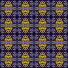 Ornamental Colourful Seamless High Resolution Pattern in  purple and yellow