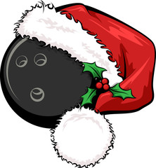 A bowling ball with a Santa cap decorated with holly for Christmas.