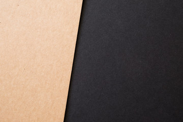 Kraft paper sheet overlap with brown and black colors for background, banner, presentation template.