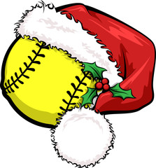 A softball with a Santa cap decorated with holly for Christmas.