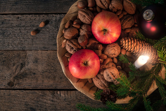 Platter with nuts and apples with Xmas decor