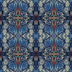 Ornamental Colourful Seamless High Resolution Pattern in blue, red and white