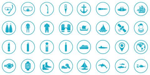 Sea Summer Driving Icon Vector Set.