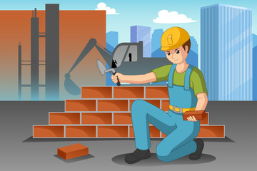 Working Construction Worker Illustration
