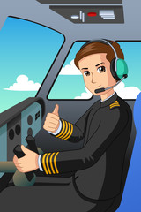 Pilot of an Airplane Illustration