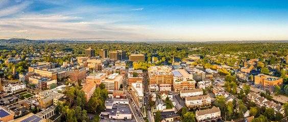 Aerial cityscape of Morristown, New Jersey. Morristown has been called the military capital of the American Revolution, because of its strategic role in the war for independence from Great Britain