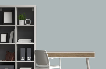 empty Office desk set empty table illustration deck shelves 3d rendering table and chair