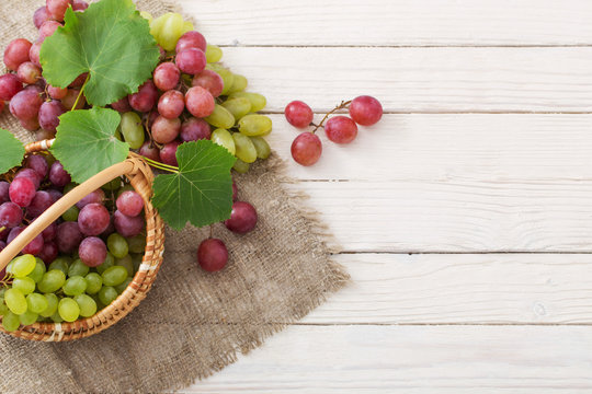 grape on wooden background