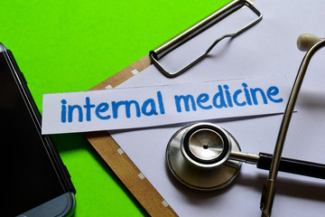 Internal medicine on Healthcare concept with green background